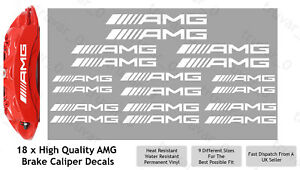 18 x AMG Brake Caliper Decal Permanent Vinyl Stickers. Straight Design - White