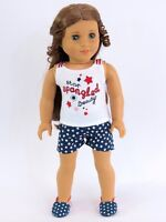 "Doll Clothes 18"" Shorts Navy White Star Spangled Top  Fits American Girl Dolls"