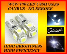 COPPIA 2X T10 W5W LAMPADINA POSIZIONE CANBUS NO ERRORE 5 LED SMD 5050 AUTO MOTO