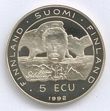 Medaille 5 Ecu 1992 Suomi Finnland Ei Laillinen Maksuväline Ø 38 mm 26 Gr B85