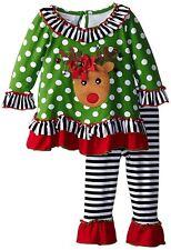 Bonnie Jean Baby Girls Green Reindeer Christmas Holiday Dress  Leggings Set 24M
