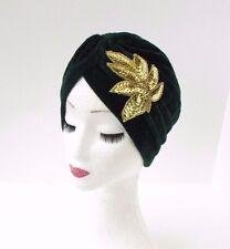 Emerald Green Velvet Feel Gold Sequin Turban Headpiece 1920s Flapper Cloche 3073