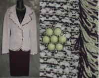 BEAUTIFUL St John collection knit 2pc purple white jacket skirt suit 14 16
