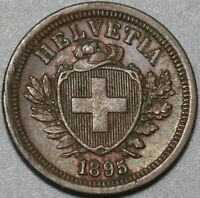 1895 Switzerland 1 Rappen AU Swiss Coin (20090903R)