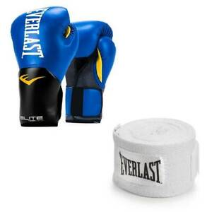 Everlast Blue Elite Pro Style Boxing Gloves 16 Ounce & White 120-Inch Hand Wraps