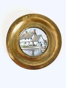 "Vintage English Cottage Brass Round 6"" Collector Plate Art Decor"