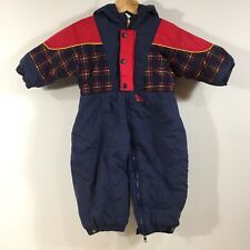 1b6db3269 Vintage 90s Baby Bgosh Oshkosh Snowsuit Toddler 24 Months Navy Blue Red  Plaid