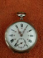 Antique Solid Silver 0.800 Cylindre 10 Rubis  Pocket Watch C1880's Working