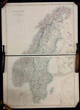 Sweden and Norway. Complete 2 sheet map. Original 1863 Dispatch Atlas Map