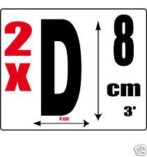 lot 2 lettres [D] Sticker autocollant noir hauteur 8cm Lettre adhésive en vinyle