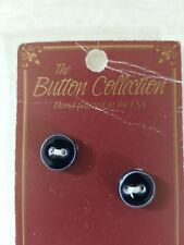 NEW Mill Hill Handmade Ceramic Button Set Cross Stitch ROUND DARK NAVY BLUE