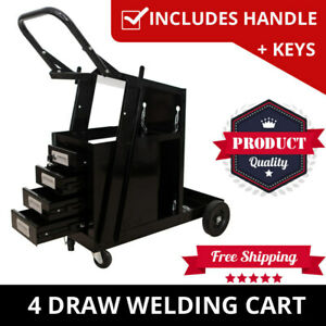 Welding Cart Trolley With 4 Drawers Welder Storage Bench MIG TIG ARC MMA Plasma