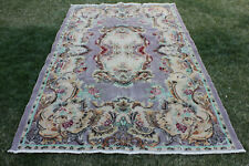 Purple Color Floral Design Wool Rug 6x9 ft Vintage Handmade Oushak Area Rug