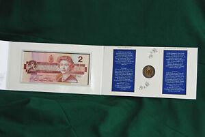 1996 CANADA Bimetallic Toonie $2 coin & Banknote in sealed set - pristine!