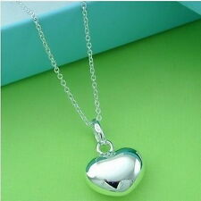 Christmas gifts Heart Pendant  Silver Women Chain Necklace + BOX