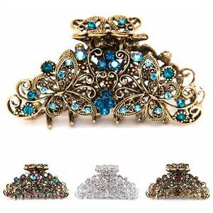 USA Medium elegant metal flower butterfly rhinestone crystal hair claw Clip pin