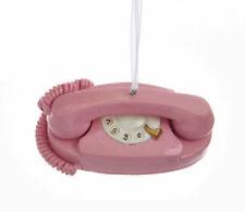 KURT ADLER RESIN MILLENNIAL PINK RETRO ROTARY TELEPHONE PHONE CHRISTMAS ORNAMENT
