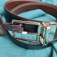 NWT Coach Men's Reversible Cut-to-Size  Black/Brown Smooth Leather Belt, Free SH