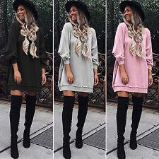 DONNA MANICA LUNGA LARGA Abito felpa maglioncino maglia casual maglione pullover