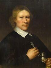 Fine Huge 17th Century Dutch Old Master Portrait Silver Fork Gentleman Mierevelt