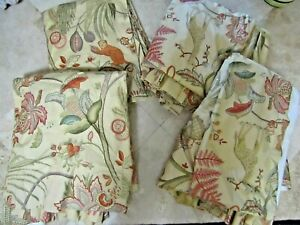 4 Schumacher Greeff Bangalore Exotic Animal Jacobean Pleated lined Curtains