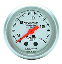 "Auto Meter 4311 Ultra-Lite Fuel Pressure Gauge 2-1/16"" Mechanical 0 - 15 Psi"