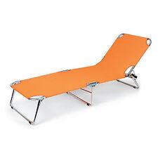 Spiaggina sdraio prendisole arancio da esterno in acciaio schienale reclinabile