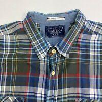 Nautica Button Up Shirt Mens Size 2XL XXL Short Sleeve Multi Plaid Cotton Casual