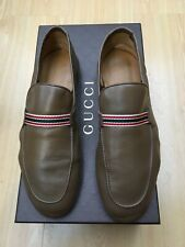 GUCCI MENS SHOES UK 9 43 BROWN LEATHER LOAFERS WEB BOWLING