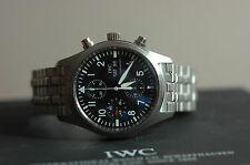 IWC Classic Pilot Day Date Steel Chronograph Flieger IW3717-04 Box/Papers