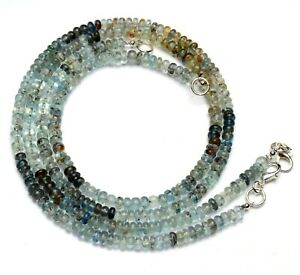 "Natural Moss Aquamarine Necklace 5MM Smooth Rondelle Beads 17"" Beryl Gemstone"