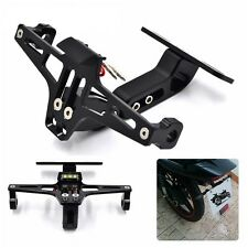 Moto Black CNC Adjustable License Plate Holder Bracket LED Rear Light Fender Kit