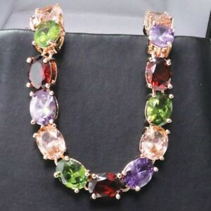 Gorgeous Oval Multi-Color Topaz Tennis Bracelet 14K Rose Gold Plated Jewelry