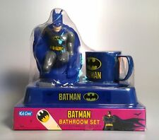 1992 BATMAN BATHROOM SET w/ Figure, Cup, Toothbrush, & Holder NEW Kid Care