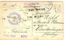 NED 1911 AK ZWERFKAART DOOR TURKYE VEEL STEMPELS