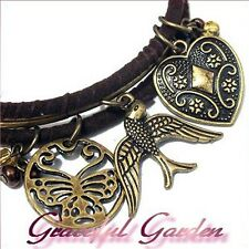 BL1972 Graceful Garden A Set of 3 Vintage Style Bird Butterfly Heart Bangles