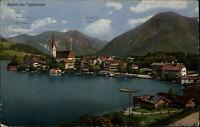 Egern am Tegernsee alte Postkarte 1922 gelaufen Teilansicht See Kirche Boot
