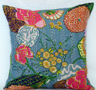 Cushion Cover: India Handmade Floral 100% Cotton Embroidered Kantha Pillow Cover
