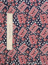 Red White Blue Star Stripe Map - Americana Patriotic Quilt Fabric Cotton YARD