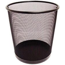 BLACK MESH BIN Basket Waste Paper Round Office Home Bathroom Bedroom Rubbish