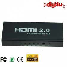 4 Way 1x4 Port Out V2.0 HDCP 2.2 Bypass 4K x 2K 3D HDMI Splitter Sky Virgin Box