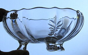 Fostoria BAROQUE crystal 3-toed CUPPED NUT BOWL footed dish FLAME 2496