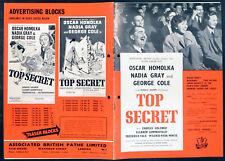TOP SECRET 1952 Oscar Homolka, Nadia Gray, George Cole UK CAMPAIGN BOOK