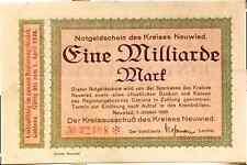 1923 Germany NEUWIED 1.000.000.000 / 1 BILLION Mark Banknote