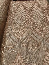 Power Mesh 4 Way Stretch Fabric Fashion Geometric Sequins Brown Gold By The Yard