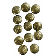 More details for ww2 military police tunic buttons x13 vintage george vi uniform white metal