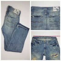 American Eagle Men's Low Rise Boot Light Wash Destroyed Jeans 28/30 EUC