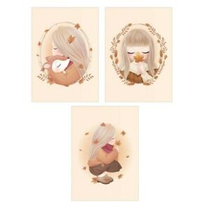 3 Poster Format A4 For Check Kids Room Autumn Girl Fox