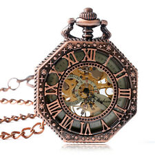 Vintage Roman Numerals Octagon Carving Hand Winding Mechanical Pocket Watch Gift
