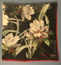 NEW RALPH LAUREN Multicolor 100% Silk Scarf, Japan Floral, Black Red Green NWOT